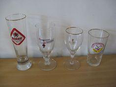 Four original glasses: 1 x Adler; 1 x Gauloise; 1 x Sezoens Quattrro; 1x Amstel