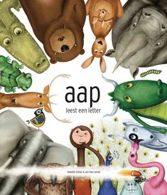 aap leest een letter | Isabelle Gielen Teddy Bear, Reading, Logos, Animals, Fictional Characters, Animales, Animaux, Logo, Teddy Bears