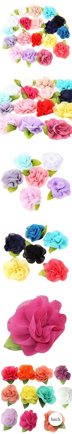 Pack of 20PCS Mixed Colors Flat-bottomed Beautiful Bohemian Style DIY Handmade Decorative Chiffon Flowers with Pearl and Rhinestone for Hair Clips, Scrapbooking and More Decoration,Wedding Flowers(20Pcs) Flower with green leaf