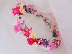 Garden Flower Crown, Multicolored Flower Tiara, Wedding Shower Crown, Baby Shower Crown, Bridesmaid Tiara, Renaissance Headdress by BunniesMadeOfBread on Etsy