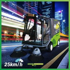 Lithium-powered, street sweeper City Clean, Safe Storage, Go Green, Worlds Of Fun, Save Energy, All Over The World, The Locals, Sustainability, Environment