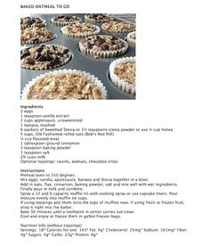 healthi snack, food, breakfast, baked oatmeal to go, recip, bake oatmeal
