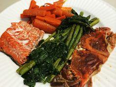 Salmon, Soft Shelled Crab, Sautéed Asparagus And Carrots: 6/27/14