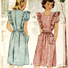 Misses Pinafore Day Dress/ 1940s Pattern/ sz 12 B30/ Ruffle Shoulders #sewinghappyplace