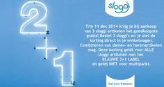 De sloggi actie 2+1 is weer begonnen!  T/m 11 dec 2014 krijg je bij aankoop van 3 sloggi artikelen het goedkoopste gratis! Bestel 3 sloggi's en je ziet de korting direct in je winkelwagen. Combineren van dames- en herenartikelen mag. Deze korting geldt voor ALLE sloggi artikelen met het BLAUWE 2+1 LABEL en geldt NIET voor multipacks.  Ga direct naar https://www.underfashion.nl/sloggi