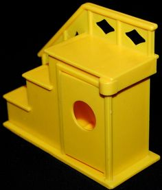 vintage Fisher-Price DOLL HOUSE 952 yellow STAIRS. $11.95, via Etsy.