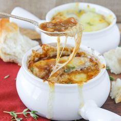 This is the best Homemade French Onion Soup! It has a generous portion of caramelized onions in a rich, flavorful beef broth made from scratch. Three types of cheese are broiled on top of croutons ...