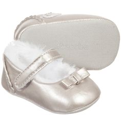 Absorba Baby Girls Silver Fur-Lined Pre-Walker Shoes at Childrensalon.com