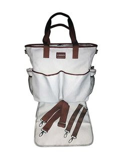 KidZone by IPP - 2 in 1 Baby Diaper Bag - Functional Duffle Overnighter Tote - Quality Canvas w/Table Topper Changing pad (Grey/White Mini-Stripe Brown Trim). open space to hold all your belongings without over stuffing the bag. Insulated Siding, Brown Trim, Bottle Bag, Baby Diaper Bags, Discount Clothing, Changing Pad, You Bag, 2 In, Keep It Cleaner