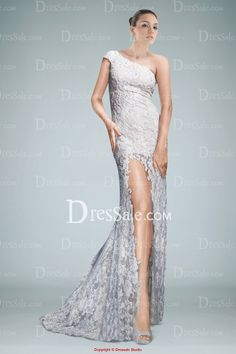 Flirtatious One-shoulder Sheath Beaded Lace Evening Gown Featuring Sheer Skirt and Slit