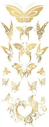 Exquisite Golden Butterflies | TattooForAWeek.com - Temporary Tattoos - Fake tattoos, temporary tattoos on Tattooforaweek - Butterflies