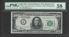 1934 $500 Five Hundred Dollar Bill Scarce Kansas City Note PMG AU58 - NO RESERVE - http://coins.goshoppins.com/us-paper-money/1934-500-five-hundred-dollar-bill-scarce-kansas-city-note-pmg-au58-no-reserve/