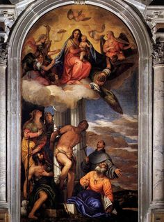 Virgin and Child Enthroned with Saints. Veronese. 1564-1565. Oil on canvas.  420 x 230 cm. San Sebastiano. Venice.