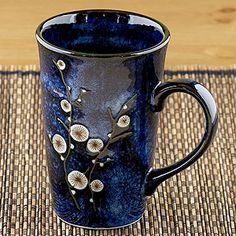 Cherry Blossom Mugs, again from World Market. I love big mugs, and these match my blue dishes.