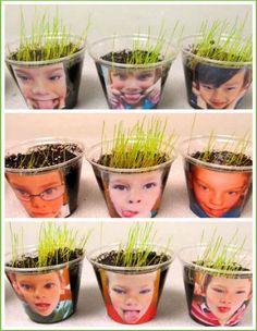 manualidad para niños de tiestos con su cara y pelo de hierba