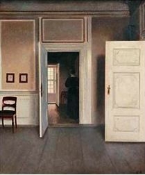 Vilhelm Hammershoi - A Woman In An Interior Art Print. Explore our collection of Vilhelm Hammershoi fine art prints, giclees, posters and hand crafted canvas products Painting Frames, Painting Prints, Fine Art Prints, Städel Museum, Arne Jacobsen, First Art, Rembrandt, Interior Paint, Interior Design