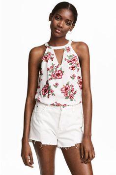 Mouwloze top - Wit/bloemen - DAMES   H&M NL 1
