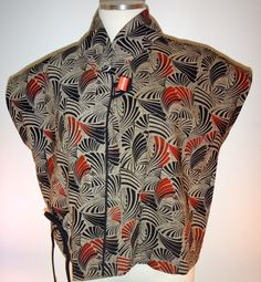 This 100% cotton light-weight vest evokes adventure and tradition. Imagine yourself walking through a Maui resort wearing this fashion-forward vest. In a word...stunning. Sizes small through 2X. Made in Thailand by Cupcake International.