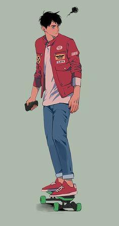 かっこいね~ l Boy Character, Character Drawing, Character Illustration, Illustration Art, Character Sketches, Character Concept, Pretty Art, Cute Art, Art Sketches