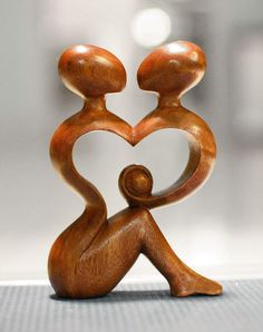 Wood sculpture, 'A Heart Shared by Two' :: Novica