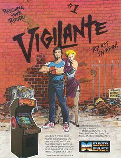 Vigilante, Game developer: Irem, U.A flyer (front). Vintage Video Games, Classic Video Games, Retro Video Games, Video Game Art, Retro Games, Live Action, Master System, Pc Engine, Beat Em Up