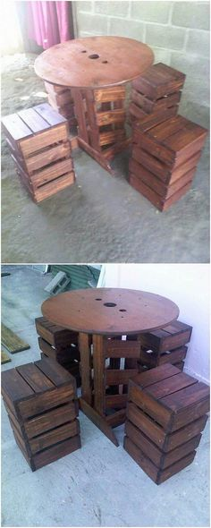 Wood pallet is undoubtedly one of the best option of manufacturing your table and simple stools designing project. This is for the reason that wood pallet is durable in nature and it would slow down the risk of facing any sort of damage or cracks. Check out the image we shared for you and get the best idea out of it!