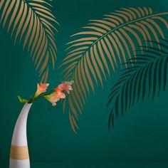 Palm Frond Stencil  tropicale Wall Art Design per una camera