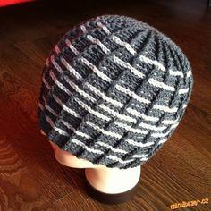 """HÁČKOVÁNÍ - Pánská proužkatá čepice (""""prošívaná"""") Beret, Baby Hats, Headbands, Crochet Hats, Beanie, Cap, Knitting, Hat Patterns, Macrame"""