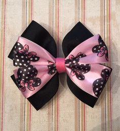 Disney inspired minnie mouse hair clip black pink hair clip headband hair bow dress up photo shoot birthday party summer by CreationsbySAHM on Etsy https://www.etsy.com/listing/235789929/disney-inspired-minnie-mouse-hair-clip