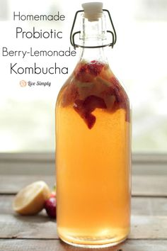 Homemade berry lemonade kombucha. A delicious, easy homemade probiotic drink.