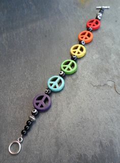 Energy Charged Stone Rainbow Peace Sign and Black Evil Eye Bracelet with Obsidian Accents by SpiritualTurtle on Etsy