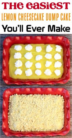 How to Make Dump Cake! This tasty cheesecake dump cake is such a yummy addition to any menu! # Easy Recipes for work Lemon Cheesecake Dump Cake Lemon Desserts, Lemon Recipes, Just Desserts, Delicious Desserts, Yummy Food, Easy Recipes, Popular Recipes, Cooking Recipes, Spice Dump Cake Recipe