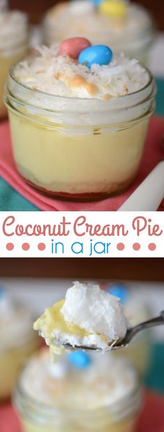 Coconut Cream Pies in jars have a homemade crust and a from scratch pudding. Filled with coconut and a meringue topping, these single serving cream pies are the perfect dessert for any occasion!