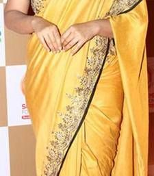 Buy Yellow embroidered chiffon saree with blouse vidya-balan-saree online