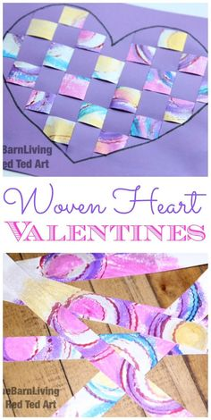 """Paper Weaving for Kids - were process meets crafts. Adorable """"upcycle"""" of left of kids art... turn them into gorgeous woven heart cards for kids to make on Valentine's Day. They would also make great Mother's Day Cards!"""