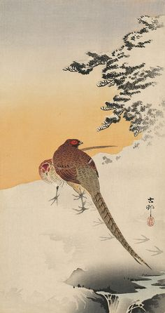 <i>Two Pheasants in Snow with Small Stream (Otanzaku tat-e)</i>, Woodblock Print<span class='sold'>SOLD</span>