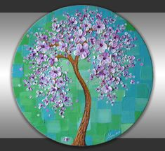 """20"""" Round Canvas Textured White Pink Lavender Cherry Blossom Tree Painting Abstract Blue Green Landscape Original Art Modern Home Decor by ZarasShop"""