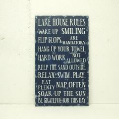 Family Rules Wood Sign Cottage Rules, Beach House Rules or Lake House Rules. Flip Flops are Mandatory. Great Hostess Gift.. $70.00, via Etsy.