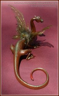 Fantasy Baby Dragon - One Of A Kind Polymer Clay Sculptures | polymer clay dragons