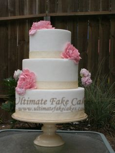 3-tier cake with peonies. www.ultimatefakecakes.com