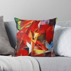 Franz Marc Foxes Throw Pillow by Emily Pigou. Shop yours at my #redbubble store today! #homedecor #famouspaintings #art #painter #franzmarc #foxes #livingroom #pillow #pillows #bedroom #cozy #art #home #decor #homegifts #giftidea #findyourthing #gift