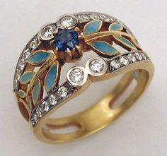 MASRIERA enamel, gold, sapphire and diamond ring.