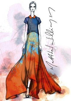 Fashion illustration sketch by Matthew Williamson  #HarrodsInsideTheStudio with Matthew Williamson harrods.com