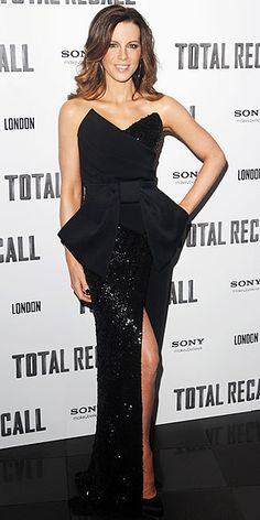 Kate Beckinsale in structured, sequined Donna Karan gown at London premiere of 'Total Recall'