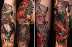Image result for neo traditional full back tattoo