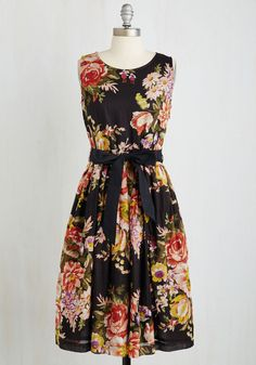Paris in the Springtime Dress - Long, Cotton, Woven, Multi, Floral, Print, Daytime Party, Fit & Flare, Sleeveless, Better