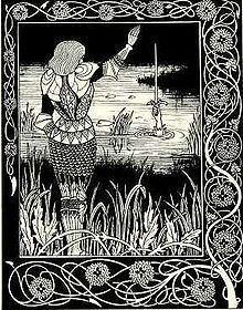 Illustration by Aubrey Beardsley for Tennyson's Idylls of the King. As Arthur lay dying, he sent his last knight, Sir Bedivere, to return Excalibur to the lake. Illustration by Aubrey Beardsley Art And Illustration, Rose Croix, Roi Arthur, King Arthur, Japanese Woodcut, Aubrey Beardsley, Pierre Bonnard, Art Japonais, English Artists