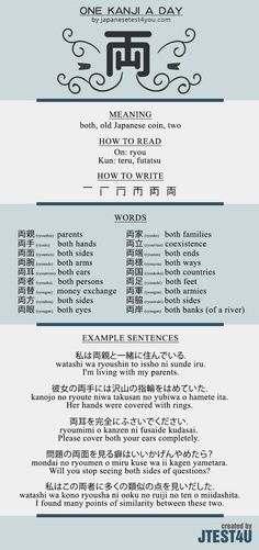 Learn one Kanji a day with infographic - 両 (ryou): http://japanesetest4you.com/learn-one-kanji-a-day-with-infographic-%e4%b8%a1-ryou/