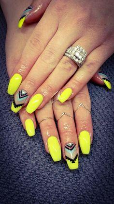 Gel nails, manicure, long nails, nail art, nail design, coffin nails, nails on fleek, neon nails, tribal nails.