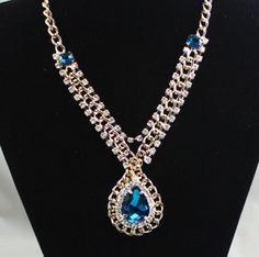 Fashion Betsey Johnson blue quartz crystal necklace k231